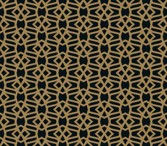 Sin patrón de intersección de líneas de oro finas sobre fondo negro. Ornamento inconsútil abstracto.