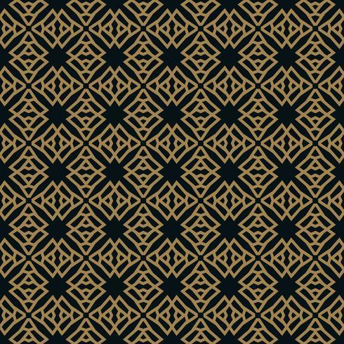 Sin patrón de intersección de líneas de oro finas sobre fondo negro. Ornamento inconsútil abstracto. vector