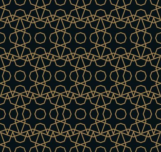 Naadloos lineair patroon met het kruisen van gebogen lijnen met gouden col vector