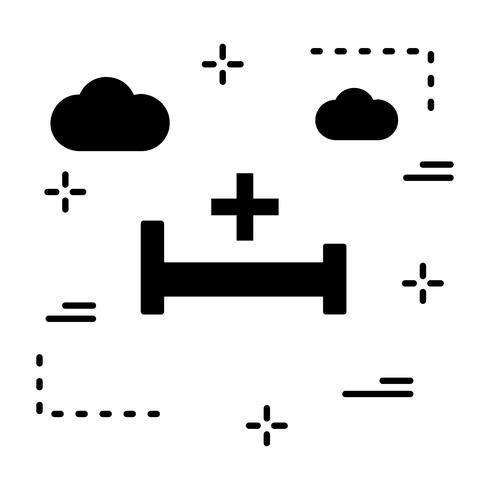Vector Hospiatl cama icono