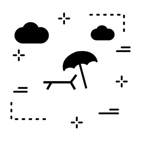 Vector icono de sombrilla y silla de playa