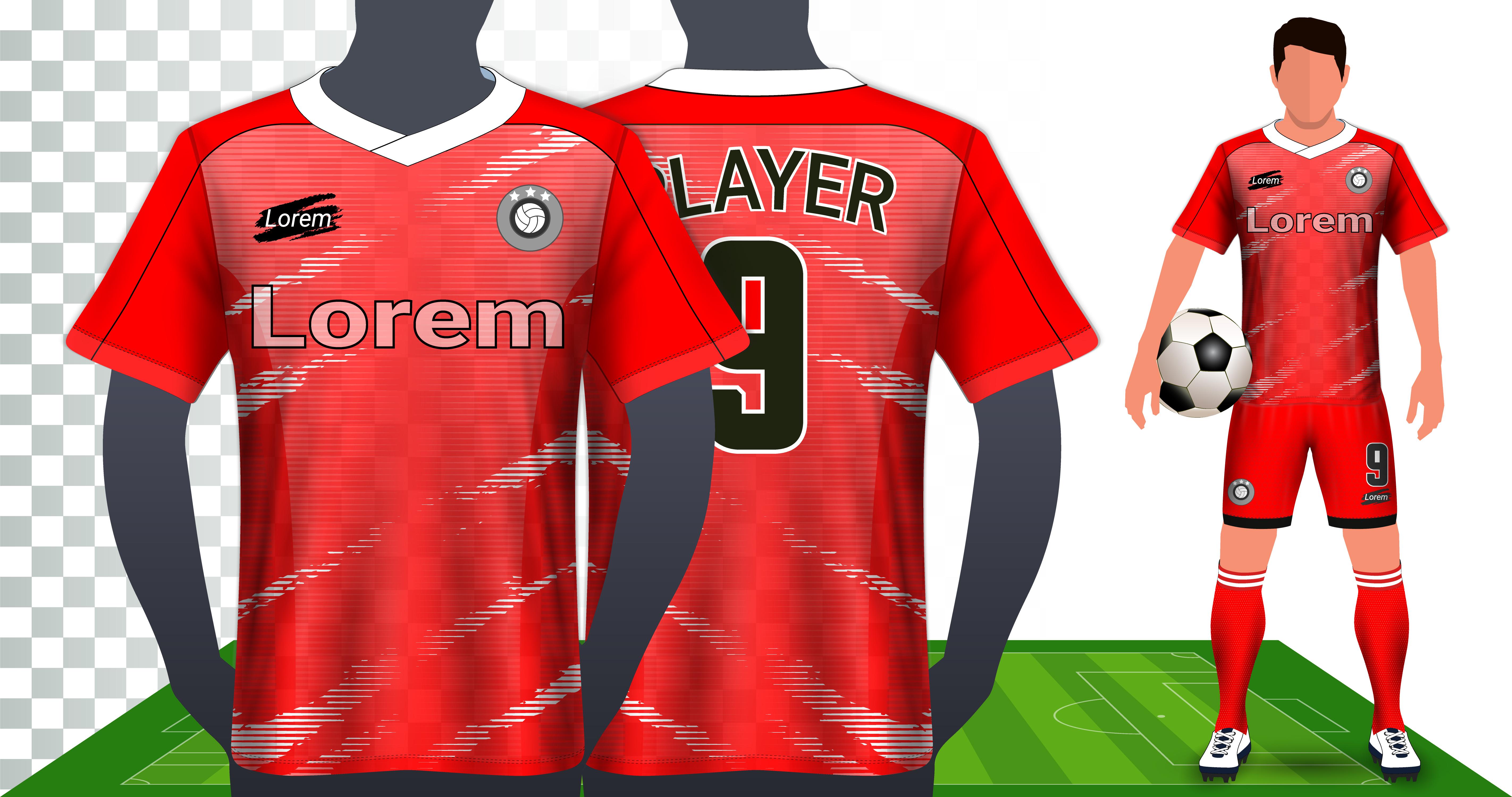 vector soccer jersey sport shirt or football kit uniform presentation mockup template
