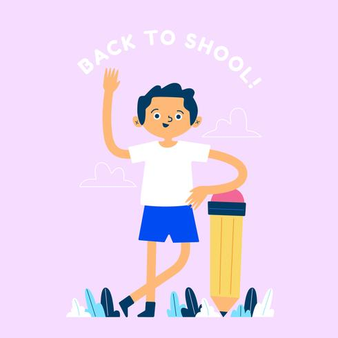 Back To School Character With Pencil Background
