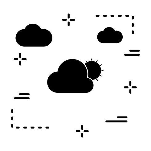 Vector sol y nube icono