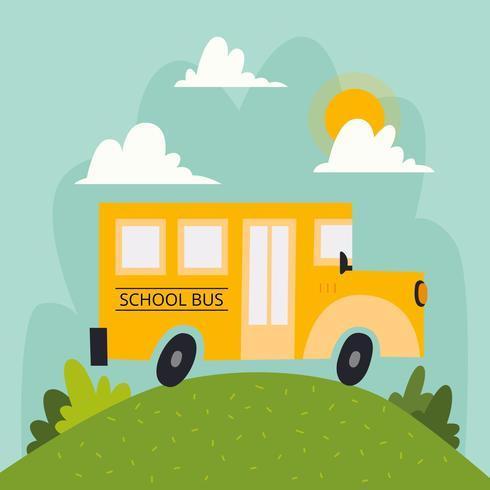 Scuolabus con paesaggio nuvole e sole