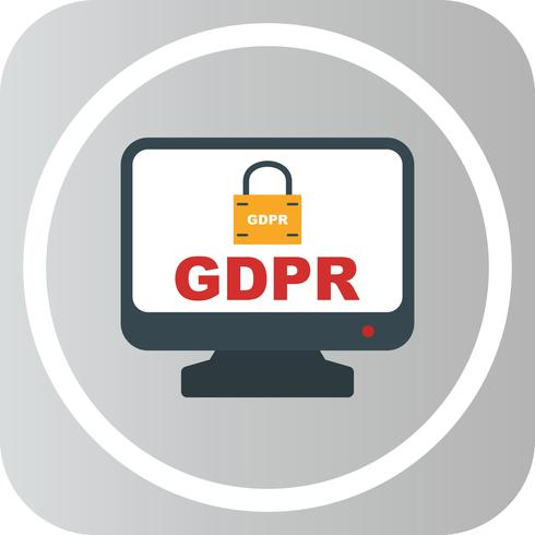 Icono de pantalla de bloqueo de seguridad Vector GDPR