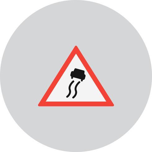 Icono de signo de carretera resbaladiza vector