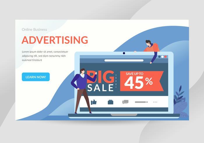 Online reclame Concept karakter illustratie vector