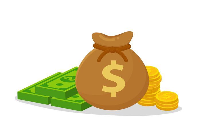 Sacs d'argent placés sur des billets de banque et des pièces d'un dollar. vecteur