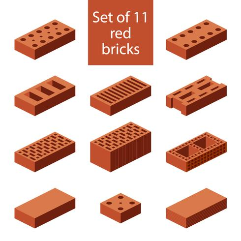 Set van 11 rode bakstenen vector