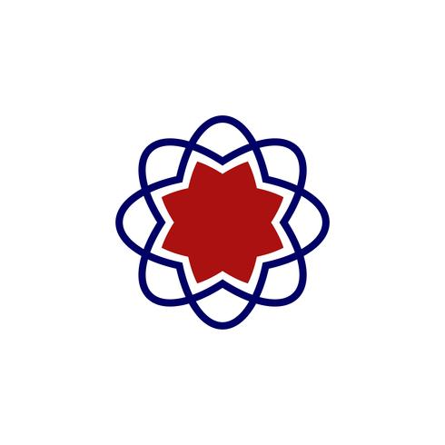 Diseño de la ilustración de la estrella de la flor del neutrón. Vector EPS 10.