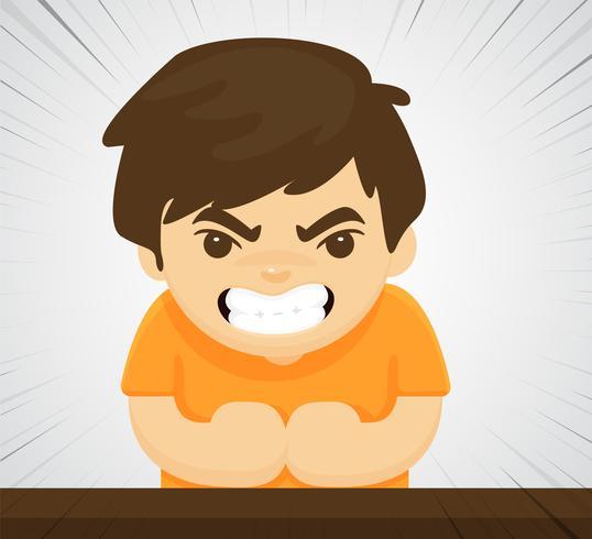 Ett arg barn som visar våldsamt aggressivt beteende för att han blev uppvakt felaktigt.