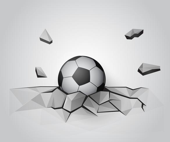 Futebol na parede quebrada.