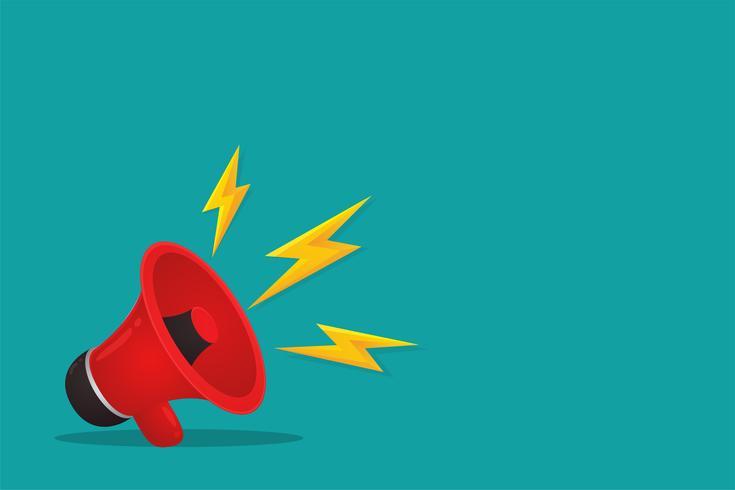 Il megafono rosso è pubblicità. Vendita di prodotti online, illustratore vettoriale.
