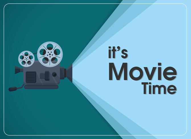 Proyector de cine retro movimiento con texto es hora de película.