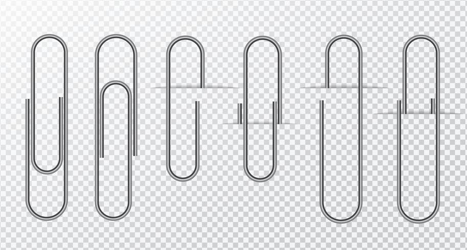Metaaldraad paperclip op een transparante achtergrond vector