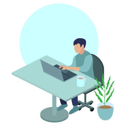 Ung man som arbetar på laptop
