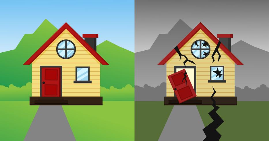 Het huis dat na de aardbeving en de storm neerstortte. Vector illustratie.