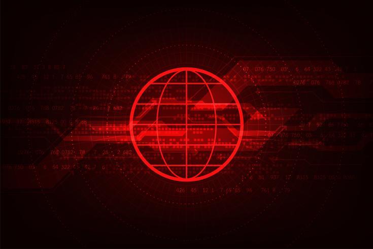 Digitale informatietechnologie op de rode achtergrond.