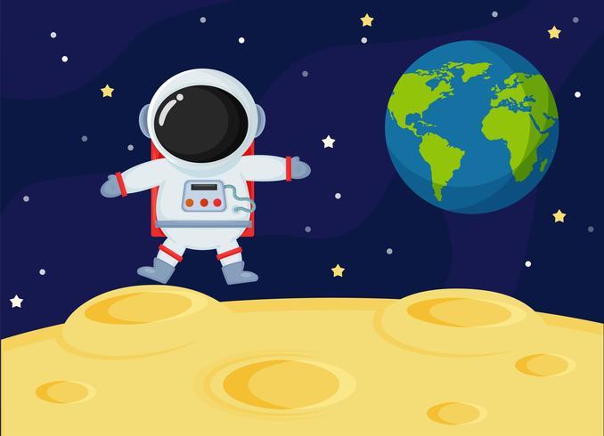 Lindos astronautas del espacio de dibujos animados exploran la superficie lunar de la tierra.