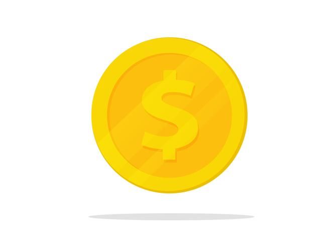 vector gold coin in flat design isolate on white background.