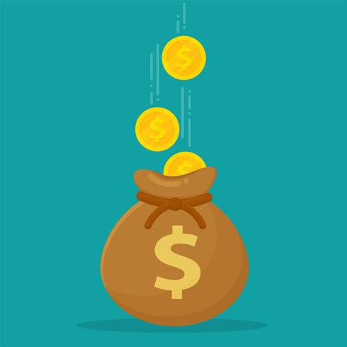 Money bags placed on banknotes and dollar coins. vector