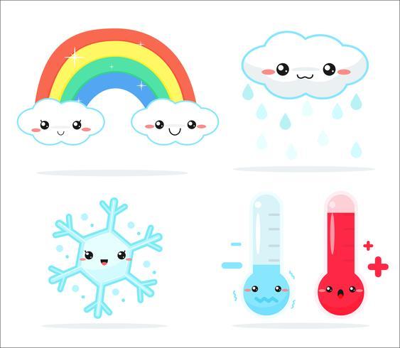 Weersvoorspelling kawaii cartoon regenboogwolken, zon en maan die er leuk en kleurrijk uitzien.
