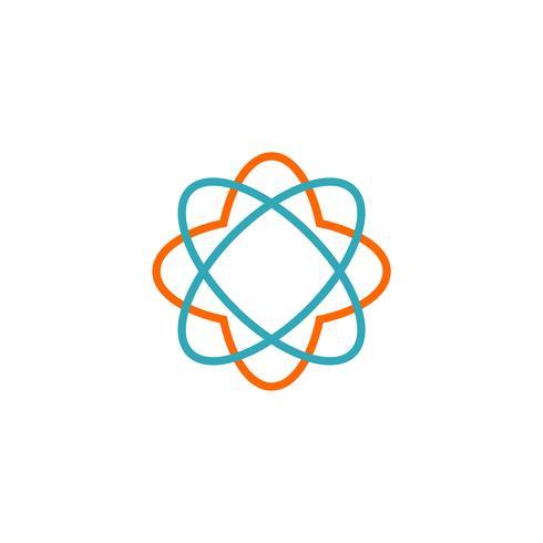 Diseño del ejemplo de la plantilla del logotipo del vector del icono de la flor del neutrón Vector EPS 10.