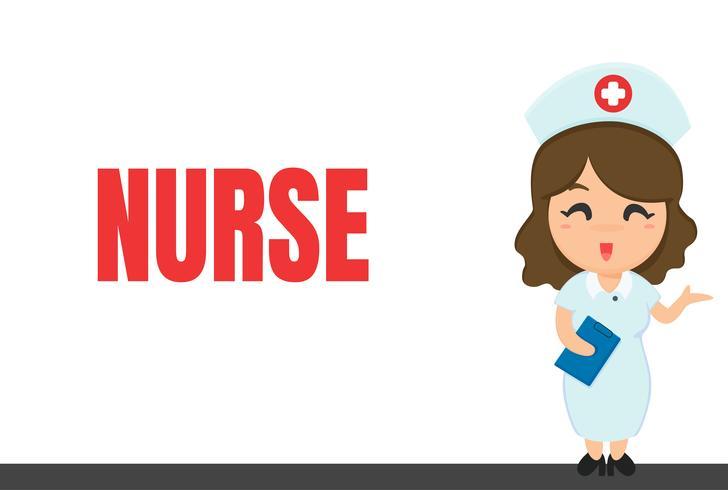 Carrera de dibujos animados Enfermera y cuaderno mientras se revisa el estado del paciente.