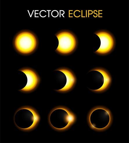 Eclipse solar del sol. vector