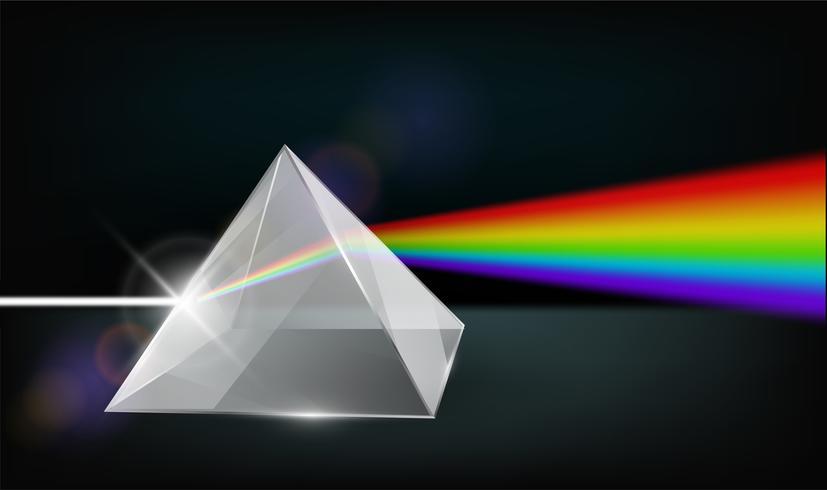 Optikfysik. Det vita ljuset skiner genom prismen. Producera regnbågens färger i illustratorn.