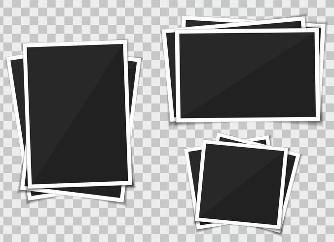 Vector conjunto de marco de fotos de plantilla. aislar en el fondo transparente.