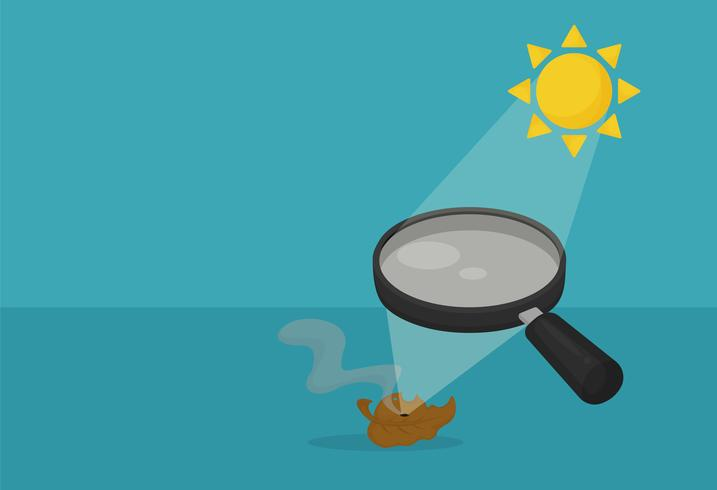 Refraction. The magnifying glass serves the sun. Causing heat on dry leaves.