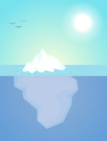 The iceberg that appeared just a little above the water The nature of the subconscious of people. vector