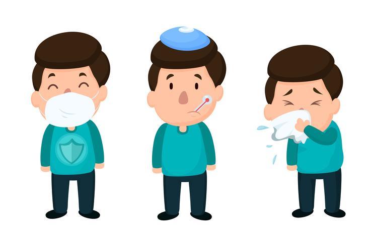 Mannen die ziek zijn van de griep Zet een masker op om ziekte te voorkomen. Vector op witte achtergrond.