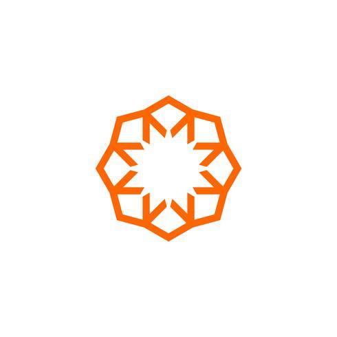 Logo ornamentale dell'illustrazione del modello di logo del cerchio della freccia della stella. Vettore ENV 10.