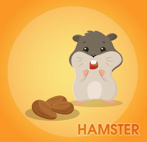Een schattige hamster-cartoon eet amandelen en houdt deze in de jukbeenderen.