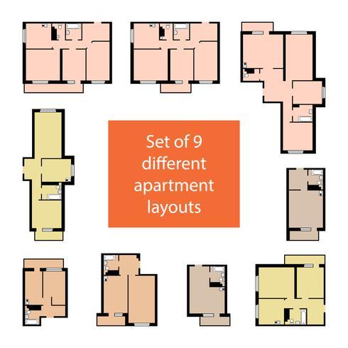Set van 9 verschillende appartementlay-outs vector