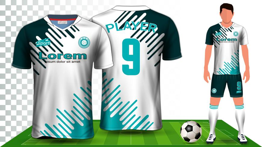 Soccer Jersey, Sport Shirt or Football Kit Uniform Presentation Mockup Template. vector