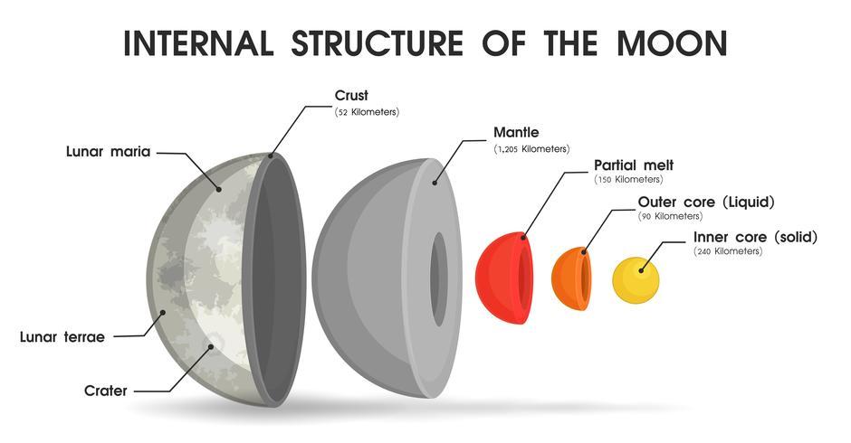 Die innere Struktur des Mondes, die in Schichten unterteilt ist.