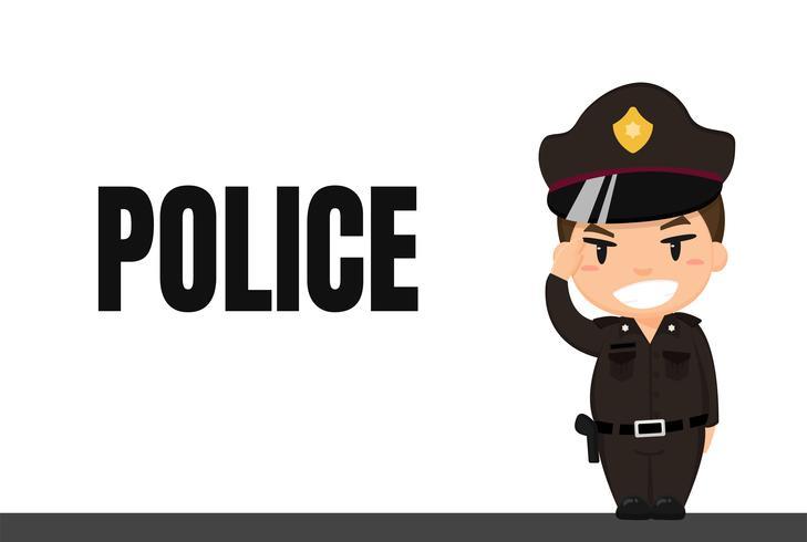 Tecknad karriär. Thailändsk polis i uniform med Respektställning Medan du är i tjänst.