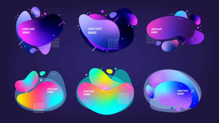 Set of vector liquid shape modern banners