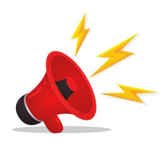 Röd megafon är reklam. Säljer produkter på nätet, vektorillustratör.