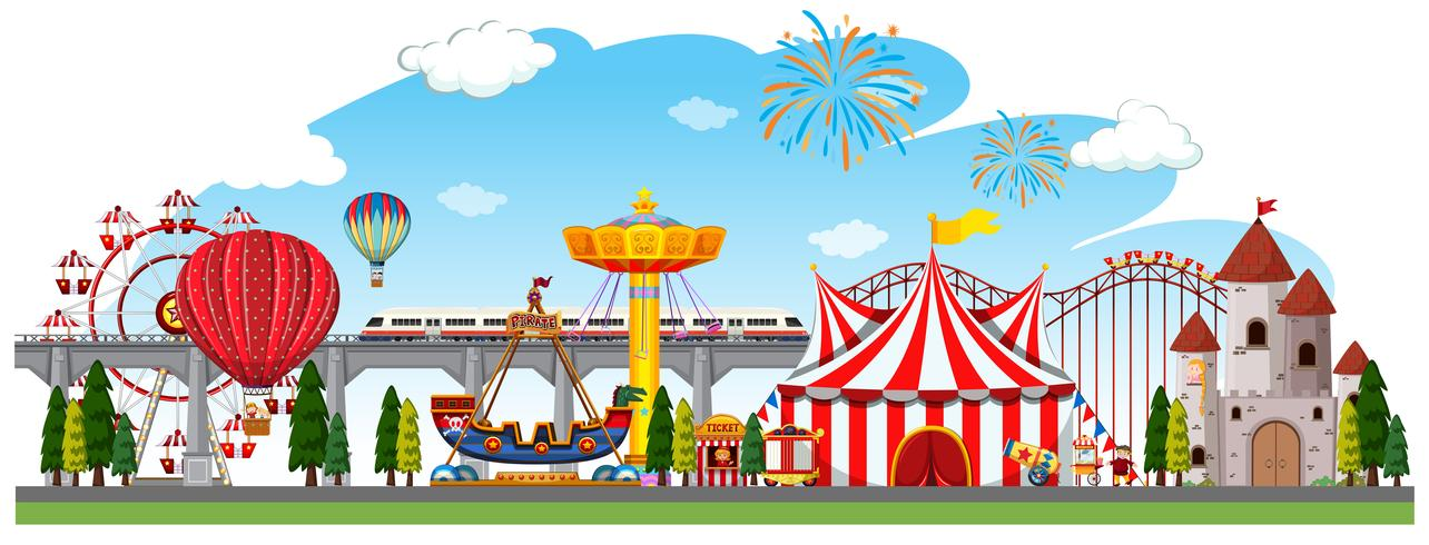 Uma cena panorâmica de circo
