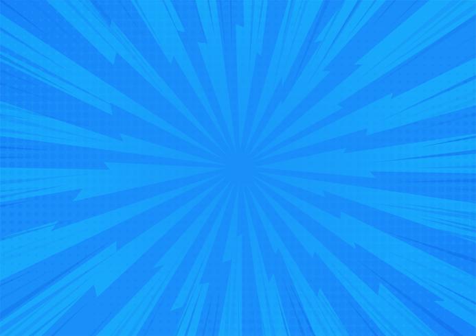 Blue Abstract Comic Cartoon Zonlicht Achtergrond. Vector illustratie ontwerp.