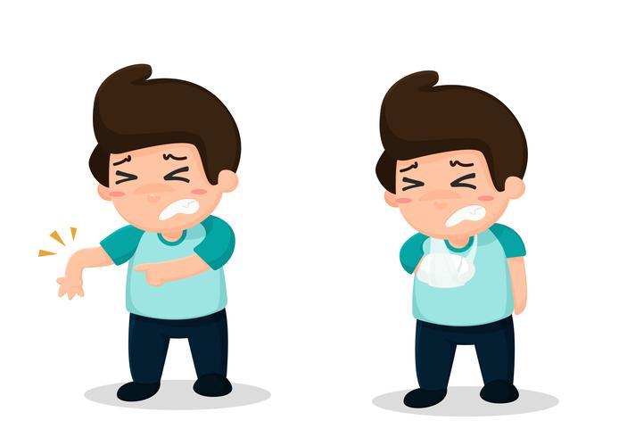 Medewerkers hebben arbeidsongevallen. Zwaar tillen maakt rugpijn. vector