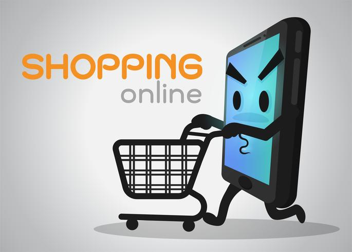 Teléfonos móviles de dibujos animados que están disfrutando de compras. vector