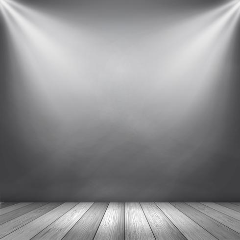 Grunge interior with spotlights shining down
