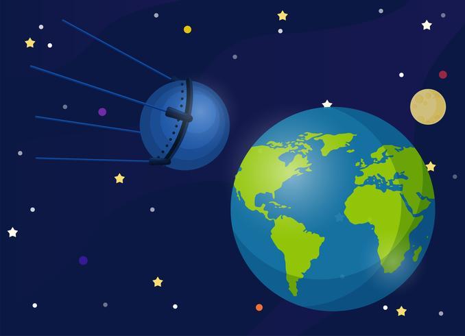 Sputnik Es el primer satélite que orbita la Tierra. El primer satélite para llevar un perro al espacio. vector