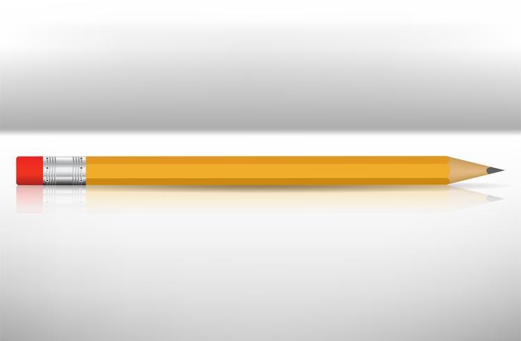 PrintGeel potlood met rode gumtip realistisch Op een witte achtergrond ziet er simpel uit